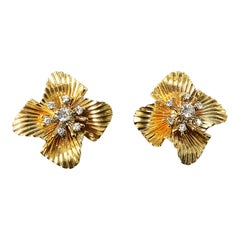 Tiffany & Co. 1950s Yellow Gold and Diamond Flower Earrings
