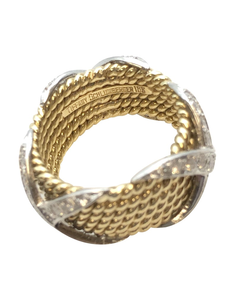 Round Cut Tiffany & Company Jean Schlumberger Gold and Diamond Wide X Rope Band Ring For Sale