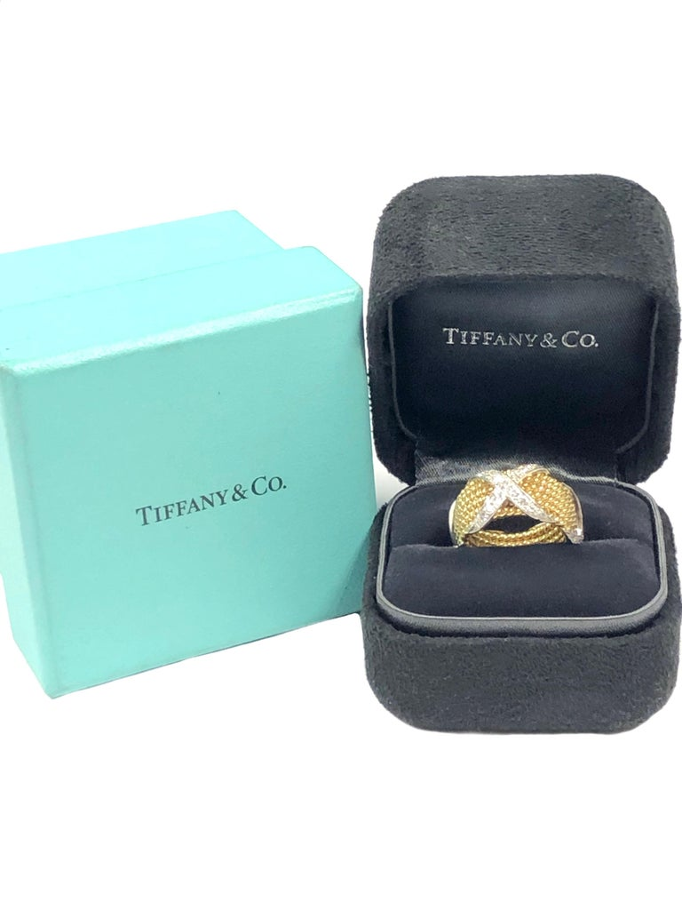 Tiffany & Company Jean Schlumberger Gold and Diamond Wide X Rope Band Ring In Excellent Condition For Sale In Chicago, IL