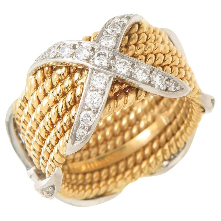 Tiffany & Company Jean Schlumberger Gold and Diamond Wide X Rope Band Ring For Sale