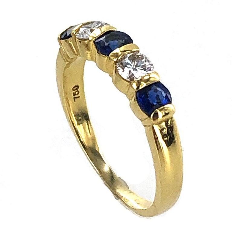 Round Cut Tiffany & Co. Modern Diamond Sapphire 18 Karat Yellow Gold Band Ring For Sale