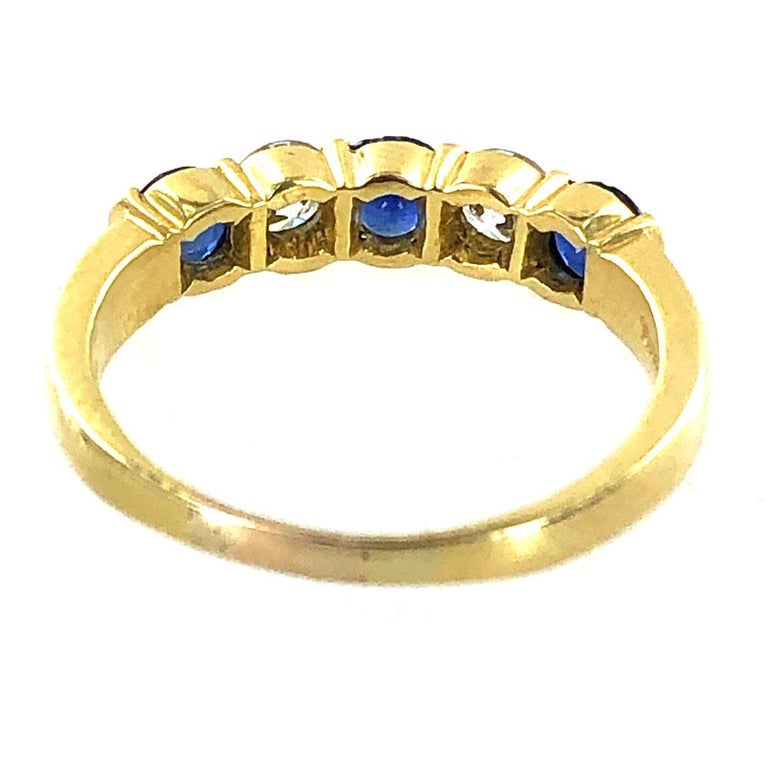 Tiffany & Co. Modern Diamond Sapphire 18 Karat Yellow Gold Band Ring In Excellent Condition For Sale In Boca Raton, FL