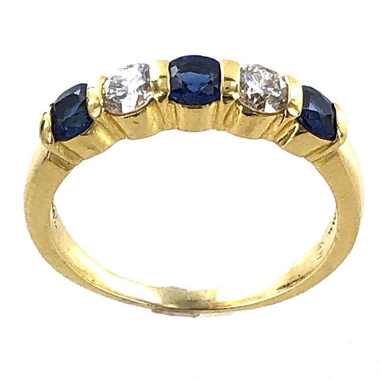 Tiffany & Co. Modern Diamond Sapphire 18 Karat Yellow Gold Band Ring For Sale 1
