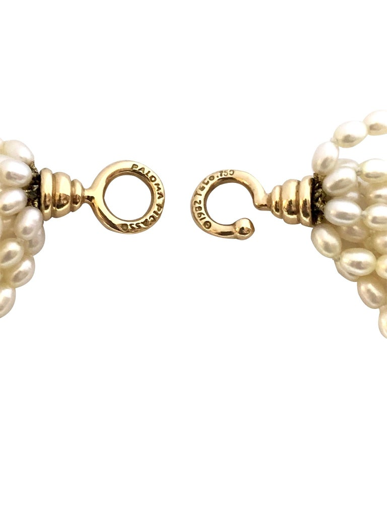 Tiffany & Co. Paloma Picasso Gold and Pearl Torsade Necklace In Excellent Condition In Chicago, IL