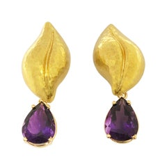 Tiffany & Co. Paloma Picasso Large Gold and Amethyst Convertible Earrings