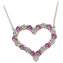 Tiffany & Co. Platinum Diamond and Pink Sapphire Open Heart Pendant Necklace
