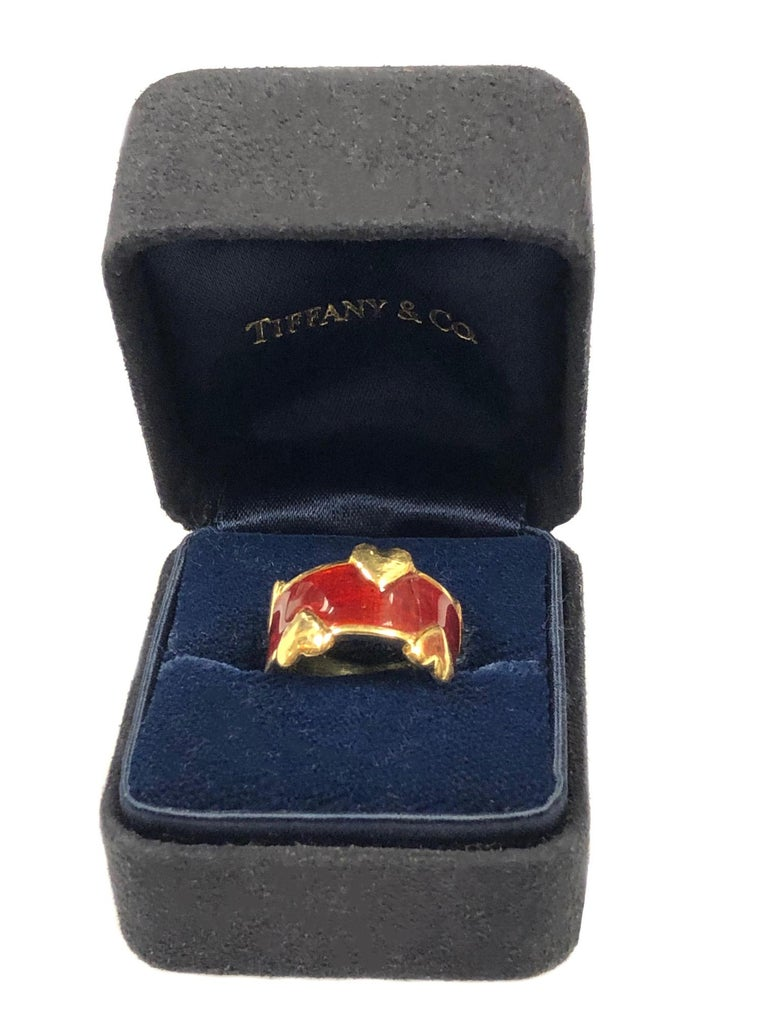 Tiffany & Co. Schlumberger Gold and Enamel Hearts Band Ring For Sale 2