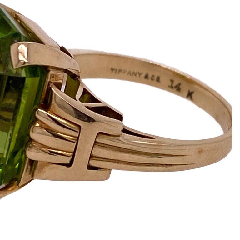 Women's Tiffany & Co. Vintage Emerald Cut Peridot Yellow Gold Ring