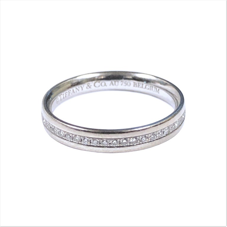Tiffany & Co. White Gold and Diamond Eternity Band Ring In Excellent Condition For Sale In Chicago, IL