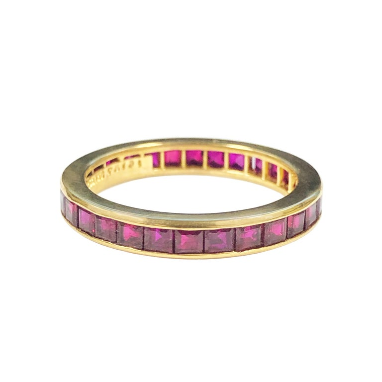 Square Cut Tiffany & Co. Yellow Gold and Ruby Eternity Band Ring For Sale
