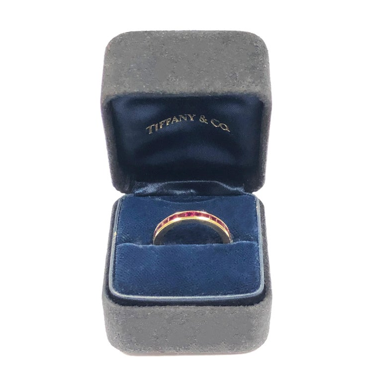 Tiffany & Co. Yellow Gold and Ruby Eternity Band Ring In Excellent Condition For Sale In Chicago, IL