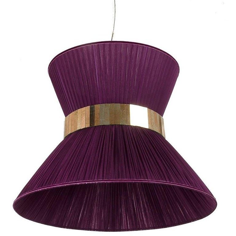 Tiffany Contemporary Hanging Lamp 60cm Purple Silk and Silvered Glass handmade
