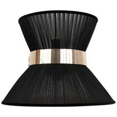 """Tiffany"" Contemporary Bowtie Wall Lamp, Black Silk, Silvered Glass"