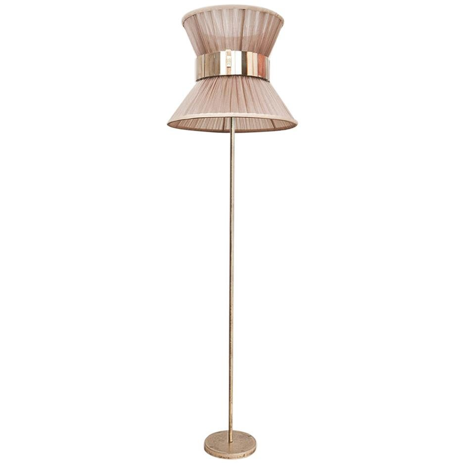 """""""Tiffany"""" Contemporary Floor Lamp 30 Champagne Silk, Antiqued Silvered Glass"""