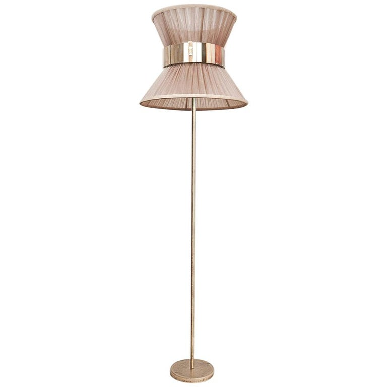 """""""Tiffany"""" Contemporary Floor Lamp 30 Champagne Silk, Antiqued Silvered Glass   For Sale"""