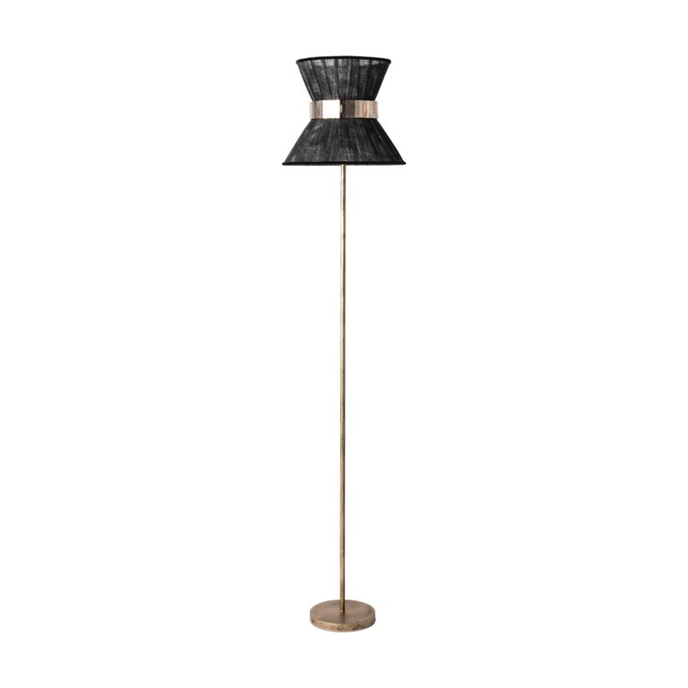 Tiffany contemporary Floor Lamp 30 black Silk,Antiqued Brass,Silvered Glass   For Sale 1