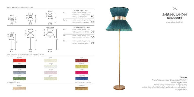 Tiffany contemporary Floor Lamp 40 Gold Silk, Antiqued Brass, Silvered Glass   For Sale 5