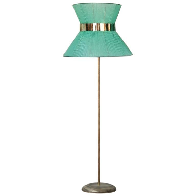 Tiffany Contemporary Floor Lamp 80 Silk, Antiqued Brass, Silvered Glass