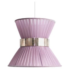 Tiffany Contemporary Hanging Lamp 30 Blush Silk Silvered Glass Brass