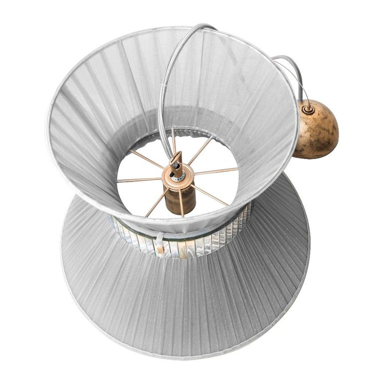 Modern Tiffany Contemporary Hanging Lamp, Chalky Onion Silvered Glass For Sale