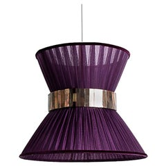 Tiffany Contemporary Hanging Lamp 30, Purple Silk Silvered Glass Handmade