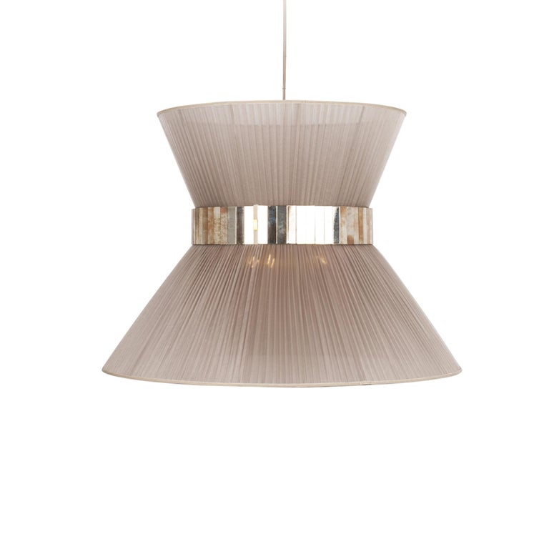 Tiffany Contemporary Hanging Lamp 60 Silk Silvered Glass Brass Canopy In New Condition For Sale In Pietrasanta, IT