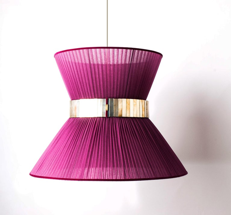 """""""Tiffany"""" contemporary Hanging Lamp 80 silver Silk Silvered Glass , brass  For Sale 2"""