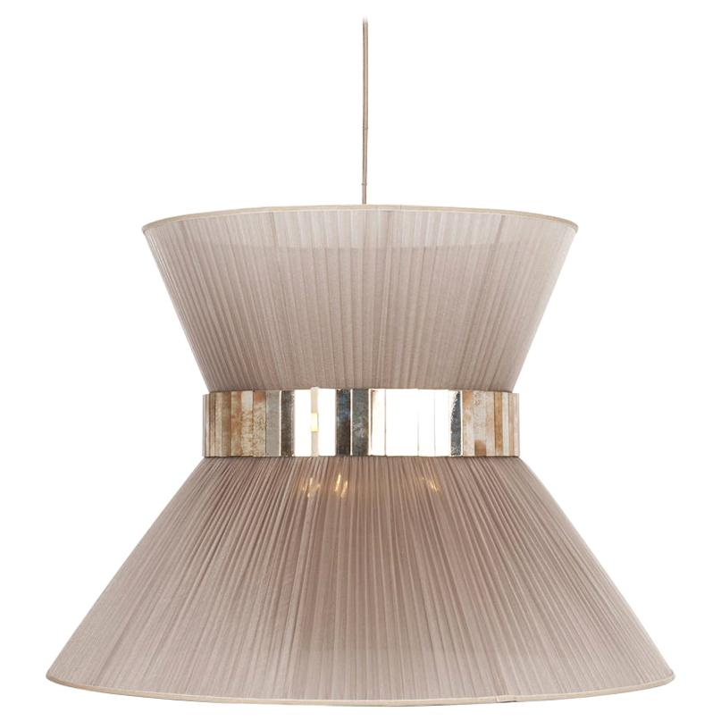 Tiffany Contemporary Hanging Lamp, 80 Champagne Silk Silvered Glass Brass