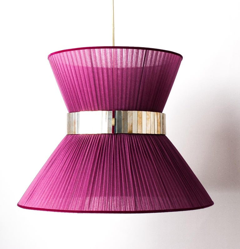 Tiffany contemporary Hanging Lamp 80cm purple Silk Silvered Glass brass Canopy  For Sale 3