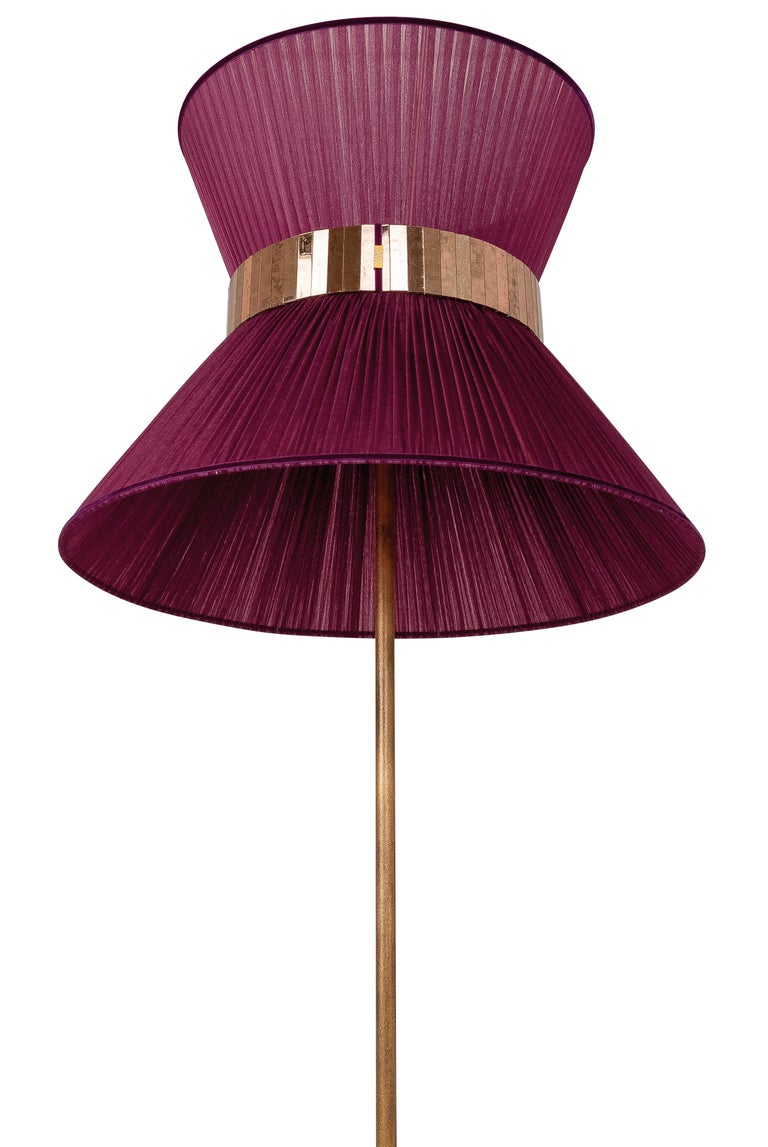 Modern  Tiffany contemporary Hanging Lamp 80cm purple Silk Silvered Glass brass Canopy  For Sale