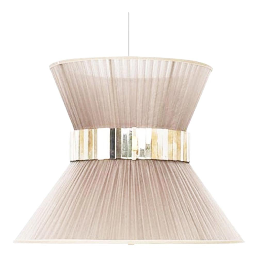 Tiffany Contemporary Hanging Lamp, Champagne Silk Silvered Glass
