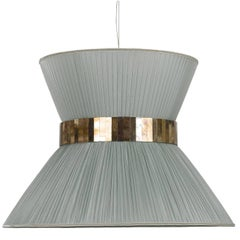Contemporary Hanging Lamp, Silver Silk Silvered Glass Brass Canopy