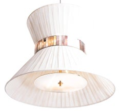Tiffany Contemporary Hanging Lamp Ivory Hand Paint Gauze Silvered Glass Brass