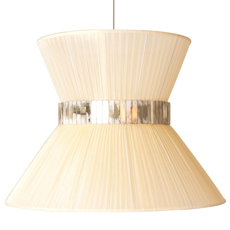 Brass Tiffany Contemporary Hanging Lamp 80 Ivory Silk Silvered Glass brass Canopy For Sale