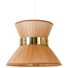 Tiffany Contemporary Lamp 30cm ,silk powder ribbon, silvered Glass, brass