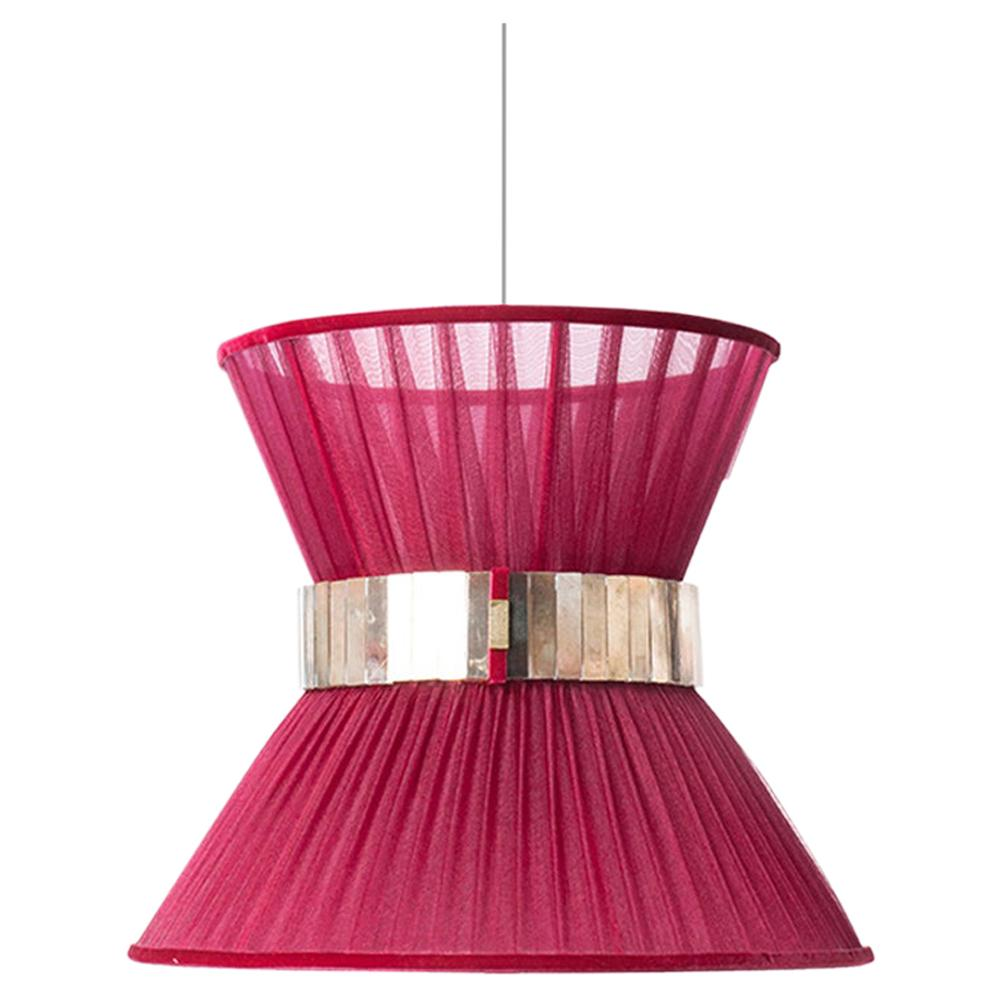 Tiffany Contemporary Hanging Lamp, Ruby Silk Silvered Glass