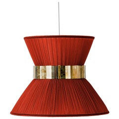 Tiffany Contemporary Hanging Lamp, Rust Red Silk Silvered Glass