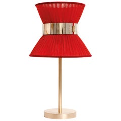 Tiffany Contemporary Table Lamp 23 Red Silk, Silvered Glass, Brass