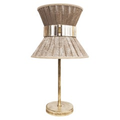 Tiffany Contemporary Table Lamp 23 Beige Painted Gauze Silvered Glass, Brass