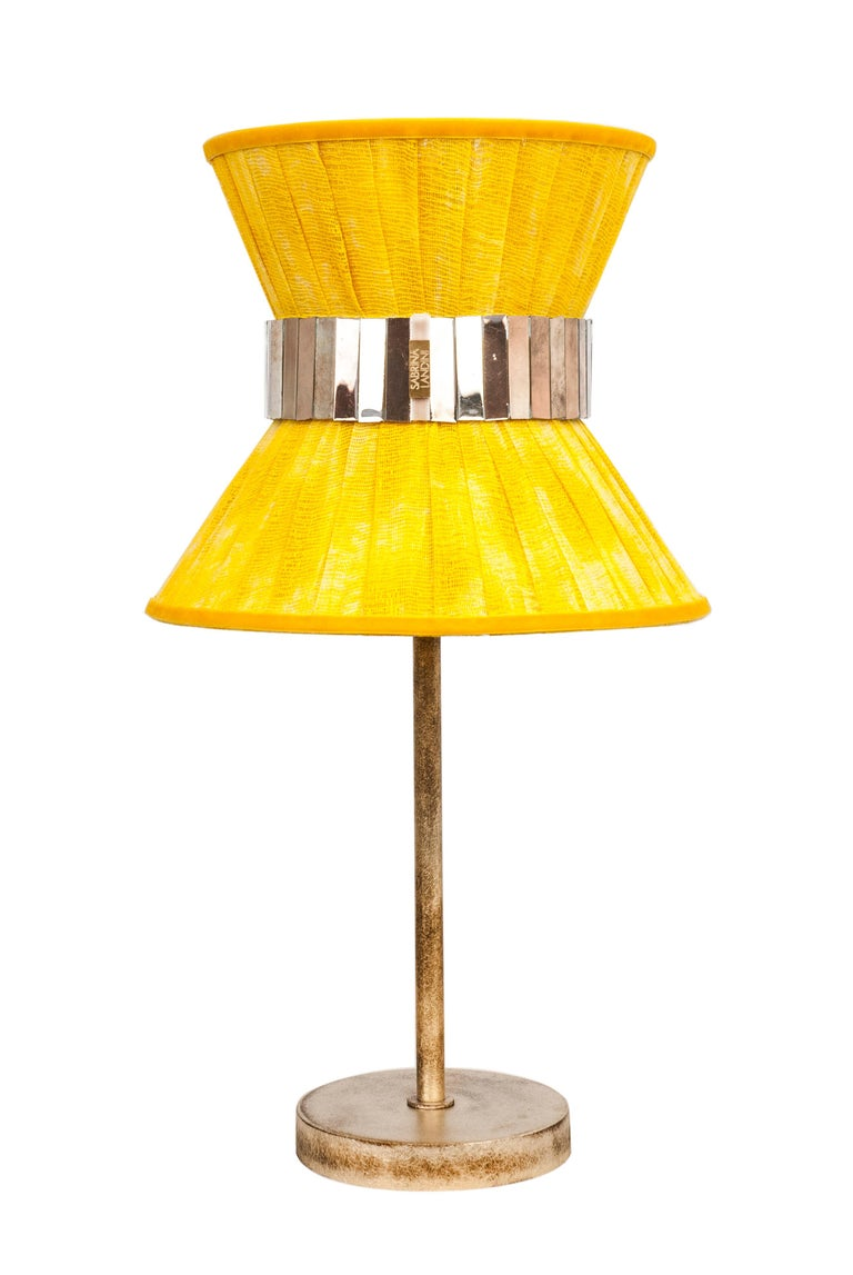 Italian Tiffany Contemporary Table Lamp 23 Sun Painted Gauze Silvered Glass, Brass For Sale