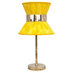 Tiffany Contemporary Table Lamp 23 Sun Painted Gauze Silvered Glass, Brass