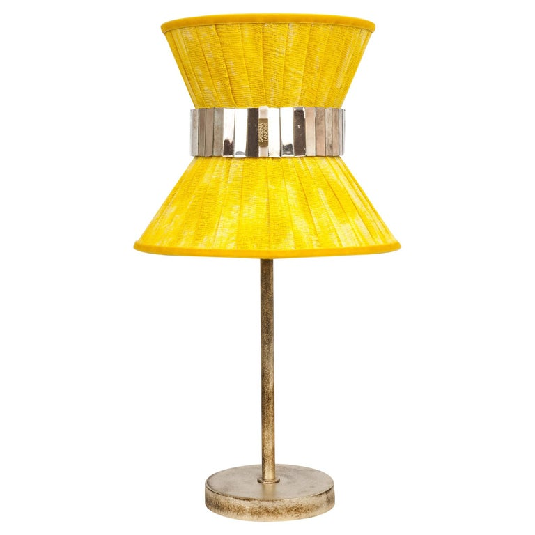 Tiffany Contemporary Table Lamp 23 Sun Painted Gauze Silvered Glass, Brass For Sale