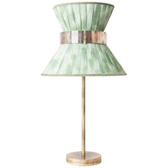 Tiffany Contemporary Table Lamp 30 Jade Painted Gauze Silvered Glass, Brass