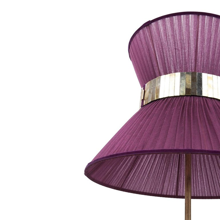 """Modern  """"Tiffany"""" contemporary Table Lamp 23 purple Silk,Antiqued Brass,Silvered Glass  For Sale"""
