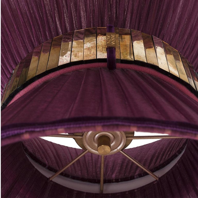 """""""Tiffany"""" contemporary Table Lamp 23 purple Silk,Antiqued Brass,Silvered Glass  In New Condition For Sale In Pietrasanta, IT"""