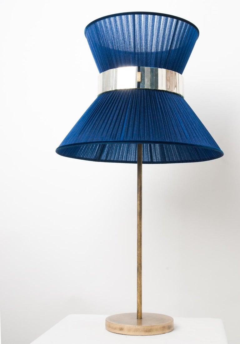 Tiffany Contemporary Table Lamp 40 blue Silk Silvered Glass Belt Antiqued Bras In New Condition For Sale In Pietrasanta, IT