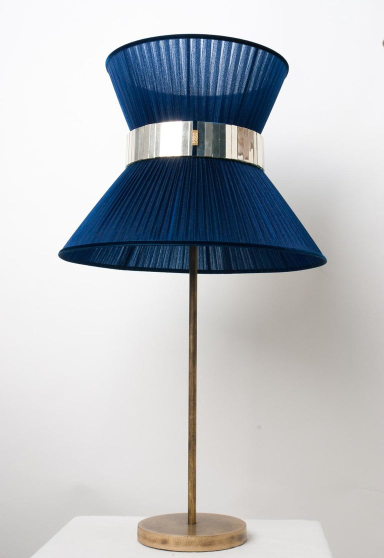 Art Glass Tiffany Contemporary Table Lamp 40 blue Silk Silvered Glass Belt Antiqued Bras For Sale