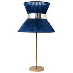 Tiffany Contemporary Table Lamp 40 blue Silk Silvered Glass Belt Antiqued Bras