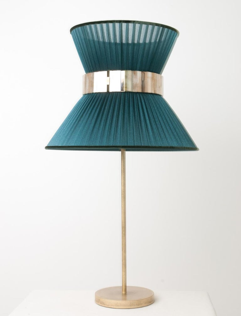 Modern Tiffany Contemporary Table Lamp 40 Tree Silk Silvered Glass antiqued Brass   For Sale