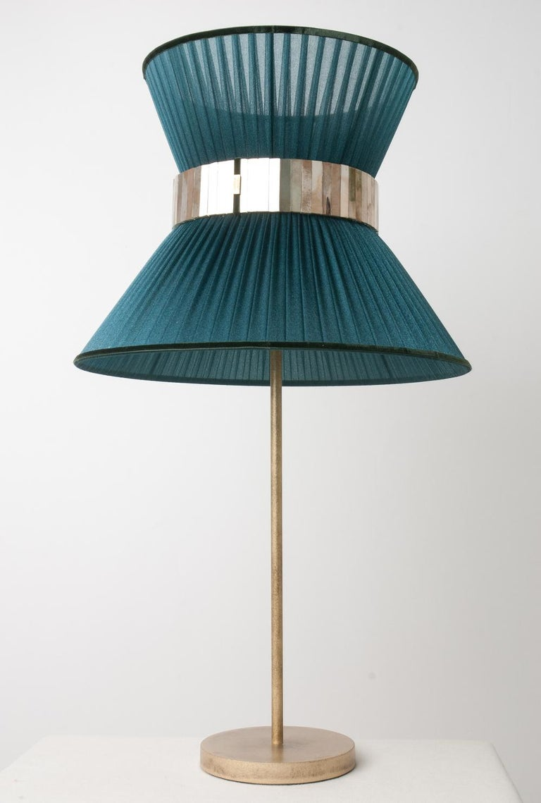 Italian Tiffany Contemporary Table Lamp 40 Tree Silk Silvered Glass antiqued Brass   For Sale